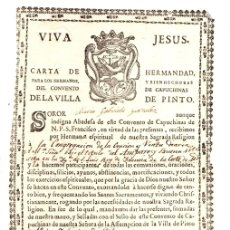 Documentos antiguos: CARTA DE ADMISION CONVENTO CAPUCHINAS. PINTO, MADRID. AÑO 1840. Lote 160214868
