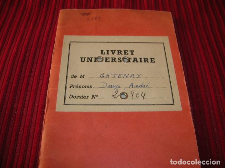 Documentos antiguos: Livret Universitaire.Paris.año 1963 - 64 - 65 - Foto 1 - 160264606