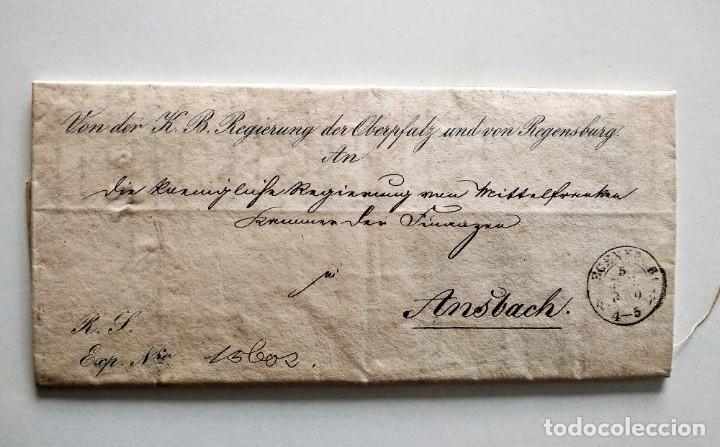 CARTA OFICIAL K.B. GOBIERNO DEL ALTO PALATINO Y DE RATISBONA SALA DE FINANZAS AÑO 1850 SELLO EN SECO (Coleccionismo - Documentos - Otros documentos)