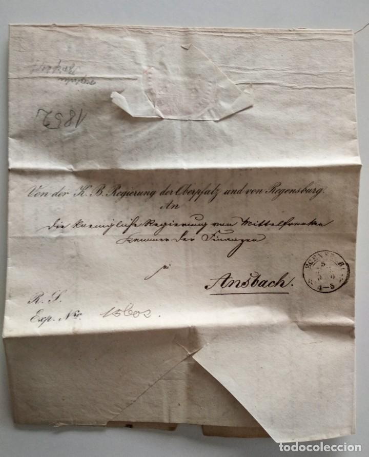Documentos antiguos: CARTA OFICIAL K.B. GOBIERNO DEL ALTO PALATINO Y DE RATISBONA SALA DE FINANZAS AÑO 1850 SELLO EN SECO - Foto 2 - 160376506