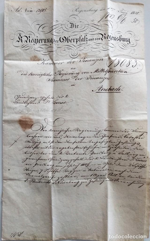 Documentos antiguos: CARTA OFICIAL K.B. GOBIERNO DEL ALTO PALATINO Y DE RATISBONA SALA DE FINANZAS AÑO 1850 SELLO EN SECO - Foto 3 - 160376506