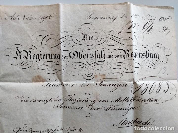 Documentos antiguos: CARTA OFICIAL K.B. GOBIERNO DEL ALTO PALATINO Y DE RATISBONA SALA DE FINANZAS AÑO 1850 SELLO EN SECO - Foto 4 - 160376506