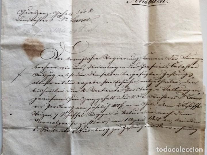 Documentos antiguos: CARTA OFICIAL K.B. GOBIERNO DEL ALTO PALATINO Y DE RATISBONA SALA DE FINANZAS AÑO 1850 SELLO EN SECO - Foto 5 - 160376506