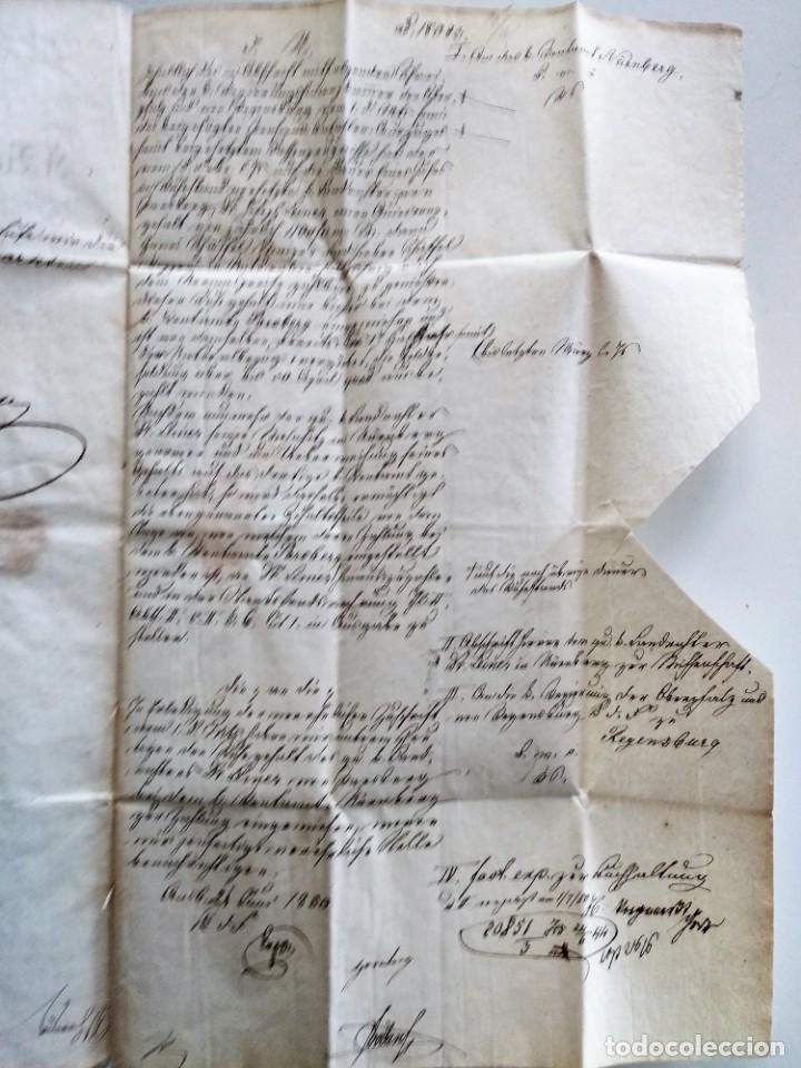 Documentos antiguos: CARTA OFICIAL K.B. GOBIERNO DEL ALTO PALATINO Y DE RATISBONA SALA DE FINANZAS AÑO 1850 SELLO EN SECO - Foto 7 - 160376506