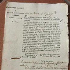 Documentos antiguos: MILICIA NACIONAL. DIRECCION ADUANAS. MADRID, TUY. TAMAÑO CUARTILLA. Lote 160705622