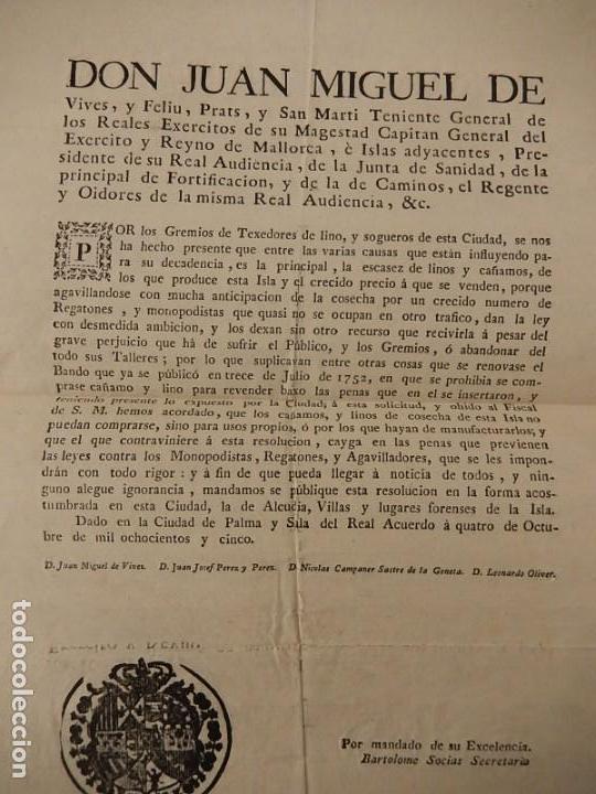 Documentos antiguos: Bando / edicto. Sobre cáñamo y lino. 1805. Mallorca. Baleares. - Foto 2 - 236498280