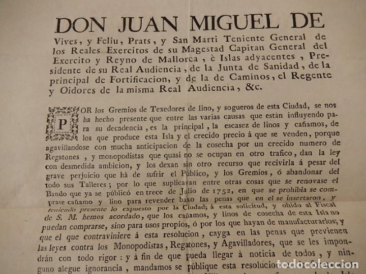 Documentos antiguos: Bando / edicto. Sobre cáñamo y lino. 1805. Mallorca. Baleares. - Foto 3 - 236498280