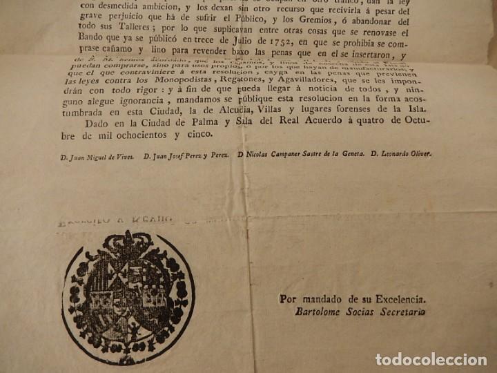 Documentos antiguos: Bando / edicto. Sobre cáñamo y lino. 1805. Mallorca. Baleares. - Foto 4 - 236498280