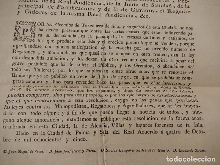 Documentos antiguos: Bando / edicto. Sobre cáñamo y lino. 1805. Mallorca. Baleares. - Foto 5 - 236498280