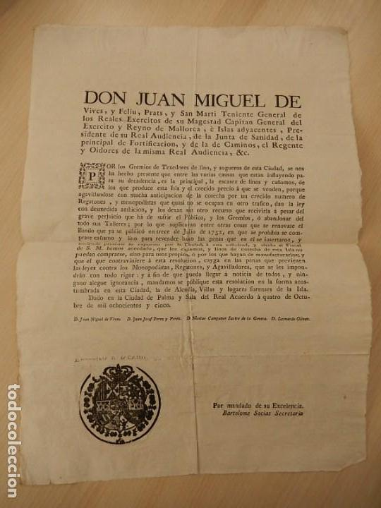 BANDO / EDICTO. SOBRE CÁÑAMO Y LINO. 1805. MALLORCA. BALEARES. (Coleccionismo - Documentos - Otros documentos)