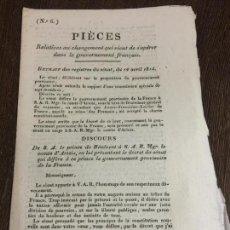 Documentos antiguos: EXCEPCIONAL DOCUMENTO HISTORICO,1814, CRONICA MUERTE GENERAL MOREAU, CARTA LUIS XVIII AL REY ESPAÑA. Lote 160813414