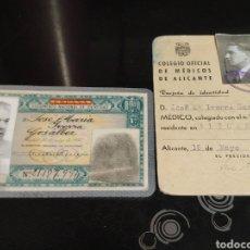 Documentos antiguos: ANTIGUO DNI VERDE EXPEDIDO EN ALICANTE Y TARJETA DE IDENTIDAD COLEGIO OFICIAL DE MÉDICOS DE ALICANTE. Lote 160877633