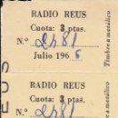 Documentos antiguos: RADIO REUS CUOTA 3 PTAS. 1966 . Lote 161159086