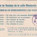 Documentos antiguos: ASOCIACIÓN VECINOS CALLE MONTEROLS REUS 1977. Lote 161159450