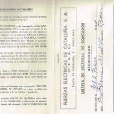 Documentos antiguos: CARTILLA - LIBRETA DE LECTURAS 'FUERZAS ELÉCTRICAS DE CATALUÑA S.A'. Lote 161299158
