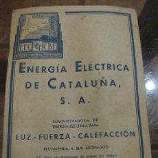Documentos antiguos: DOCUMENTO LECTURA CONTADOR SUMINISTRO ELECTRICO . ENERGIA ELECTRICA CATALUÑA LUZ FUERZA CALEFACCION. Lote 161700306