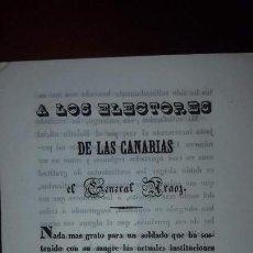 Documentos antiguos: PANFLETO DEL GENERAL MIGUEL DE ARAOZ A LOS ELECTORES DE CANARIAS - 1843. Lote 161725982