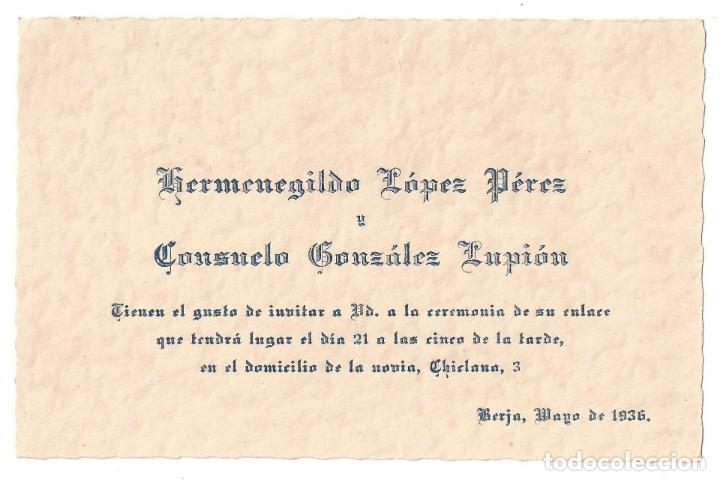 Tarjeta De Invitación De Boda Hermenegildo López Y Consuelo González Berja Almería 1936