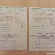 Documentos antiguos: 2 RECIBOS CUOTA AUTONOMO REGIMEN ESPECIAL AGRARIO AÑO 1988/TESORERIA GENERAL DE LA SEGURIDAD SOCIAL. Lote 161902782