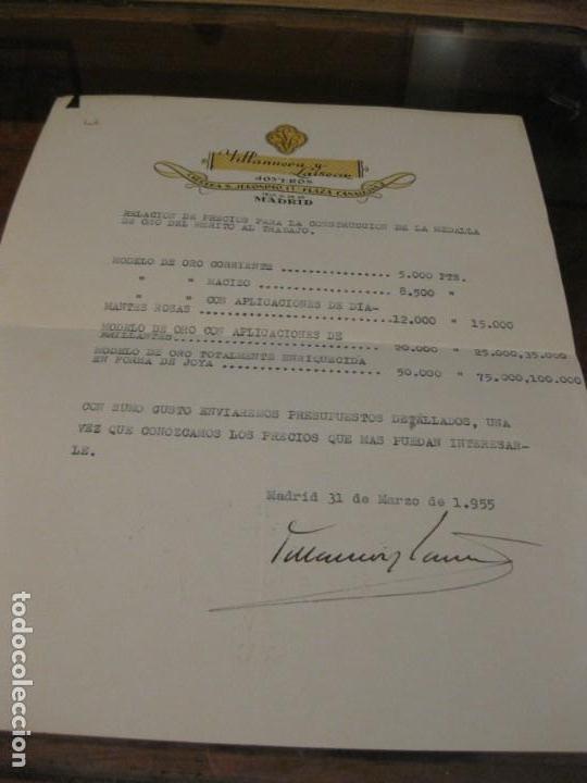 RELACION DE PRECIOS CONSTRUCCION MEDALLA DE ORO DEL TRABAJO JOYEROS VILLANUEVA Y LAISECA 1945 (Coleccionismo - Documentos - Otros documentos)