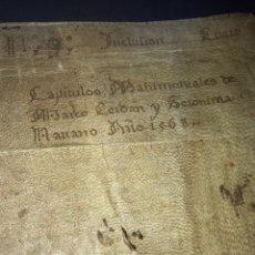 Documentos antiguos: PERGAMINO 1568. CAPÍTULOS MATRIMONIALES. ZARAGOZA. FIRMA NOTARIAL. Lote 162265302