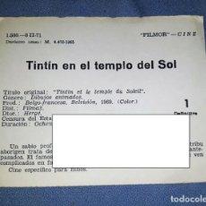 Documentos antiguos: FICHA PELICULA TINTIN EN EL TEMPLO DEL SOL CENSURA EPISCOPAL ESPAÑOLA ORIGINAL AÑO 69. Lote 162340798