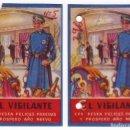 Documentos antiguos: 2 FELICITACIONES DE EL VIGILANTE. EDICIONES MORAGÓN. VALENCIA. AÑOS 50. Lote 162453302