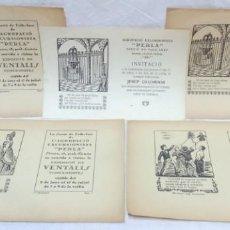 Documentos antiguos: AGRUPACIÓ EXCURSIONISTA PERLA DE GRÀCIA, 5 INVITACIONS EXPOSICIÓ DE VENTALLS VUITCENTISTES. 1920-30. Lote 162686470