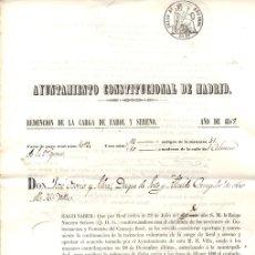 Documentos antigos: AYUNTAMIENTO CONSTITUCIONAL DE MADRID. REDENCION DE LA CARGA DE FAROL Y SERENO. AÑO 1859. Lote 163023326