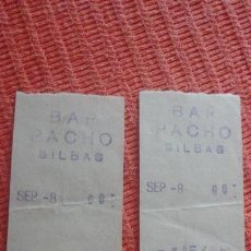 Documentos antiguos: DOS ANTIGUOS RECIBOS.TICKETS.BAR PACHO.BILBAO. Lote 163365030