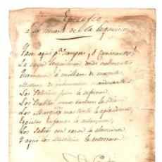 Documentos antiguos: EPITAFIO A LA MUERTE DE LA INQUISICION. CIRCA 1810. CURIOSIDAD. Lote 163734960
