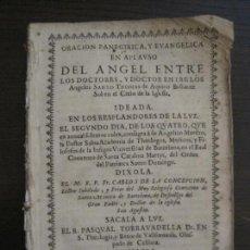 Documentos antiguos: PLIEGO-ORACION PANEGIRICA DEL ANGEL ENTRE DOCTORES-AÑO 1689-BARCELONA-VER FOTOS(V-16.896). Lote 163768390
