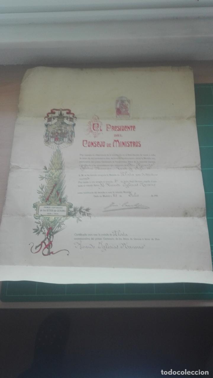 Documentos antiguos: Concesión Medalla de los Sitios de Gerona. 1910. José Canalejas. - Foto 2 - 164196826