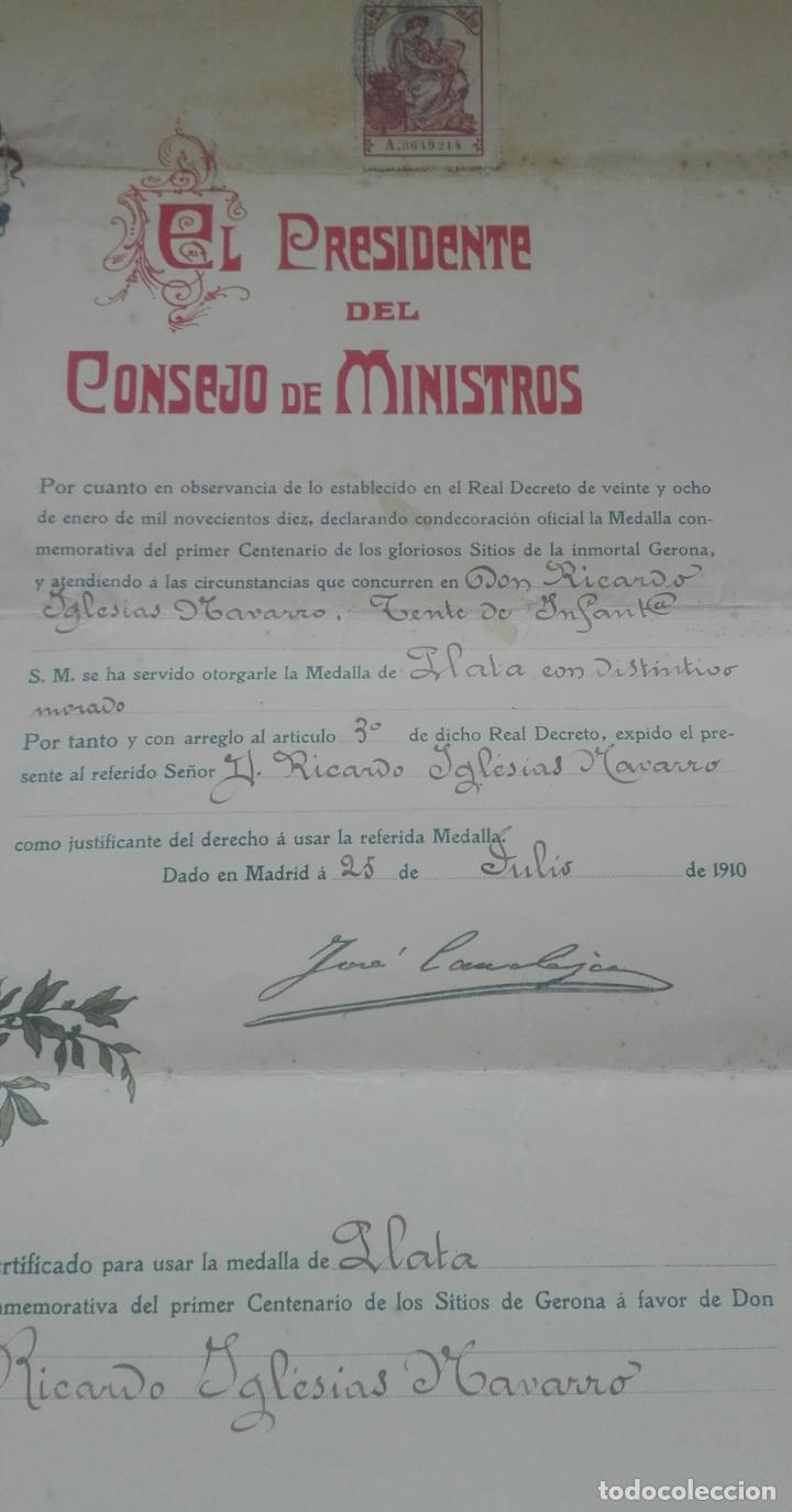 Documentos antiguos: Concesión Medalla de los Sitios de Gerona. 1910. José Canalejas. - Foto 5 - 164196826