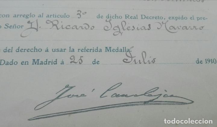 Documentos antiguos: Concesión Medalla de los Sitios de Gerona. 1910. José Canalejas. - Foto 6 - 164196826