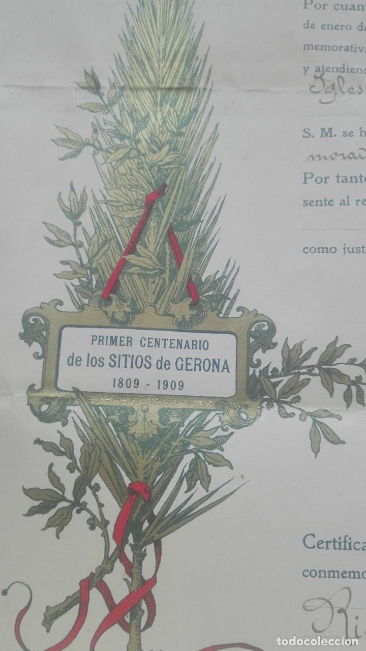 Documentos antiguos: Concesión Medalla de los Sitios de Gerona. 1910. José Canalejas. - Foto 7 - 164196826