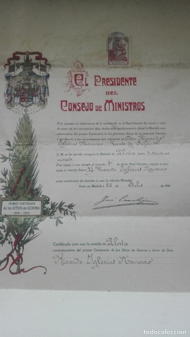 CONCESIÓN MEDALLA DE LOS SITIOS DE GERONA. 1910. JOSÉ CANALEJAS. (Coleccionismo - Documentos - Otros documentos)