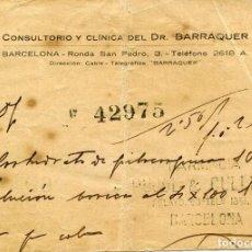 Documentos antiguos: BARCELONA-ANTIGUA RECETA -CONSULTORIO CLINICA DR. BARRAQUER-1925--MUY RARA. Lote 164539758