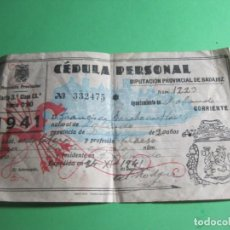 Documentos antiguos: CEDULA PERSONAL DIPUTACION DE BADAJOZ AÑO 1941-REF-P-37. Lote 164724718