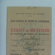 Documentos antiguos: CARNET DE IDENTIDAD CAJA NACIONAL DE SEGURO ENFERMEDAD. SEVILLA, 1945. Lote 165095590