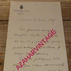 Documentos antiguos: CARLISMO, MADRID,1907, CARTA MANUSCRITA FIRMADA POR MANUEL SENANTE, DIPUTADO POR AZPEITIA. Lote 165232546