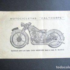 Documentos antiguos: PUBLICIDAD MOTOCICLETAS CALTHORPE DE CASA MERCURE. MADRID. . Lote 165326662