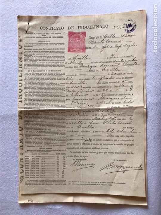 CONTRATO INQUILINATO CIUDAD DE SEVILLA CALLE SAN BARTOLOMÉ 1927. PAPEL PERGAMINO. (Coleccionismo - Documentos - Otros documentos)