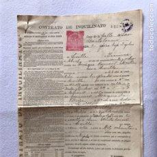 Documentos antiguos: CONTRATO INQUILINATO CIUDAD DE SEVILLA CALLE SAN BARTOLOMÉ 1927. PAPEL PERGAMINO.. Lote 165504313
