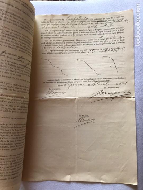 Documentos antiguos: CONTRATO INQUILINATO CIUDAD DE SEVILLA CALLE SAN BARTOLOMÉ 1927. PAPEL PERGAMINO. - Foto 3 - 165504313