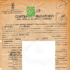 Documentos antiguos: HUMOR ESPAÑOL,MIGUEL GILA,CONTRATO ACTUACION ORIGINAL DEL GRAN HUMORISTA,AÑO1962,ACTUACION BARCELONA. Lote 165875490