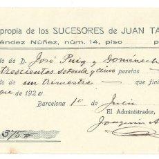 Documentos antiguos: RECIBO DE ALQUILER- CASA PROPIA DE LOS SUCESORES DE JUAN TASTÁS. BARCELONA- 1920. Lote 166280338