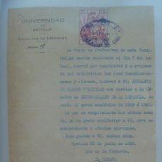 Documentos antiguos: UNIVERSIDAD SEVILLA - FACULTAD DE MEDICINA : NOMBRAMIENTO AYUDANTE CLASES PRACTICAS . VIÑETA. Lote 166388062
