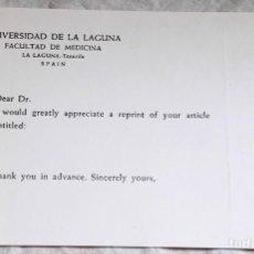 Documentos antiguos: ANTIGUO DOCUMENTO DE LA UNIVERSIDAD DE LA LAGUNA, FACULTAD DE MEDICINA. Lote 166396686