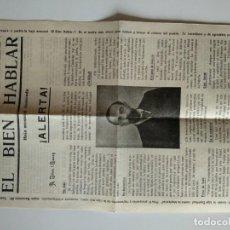Documentos antiguos: HOJA MENSUAL ILUSTRADA EL BIEN HABLAR SEGUNDA EDICION, DESCONOZCO AÑO. Lote 166410430